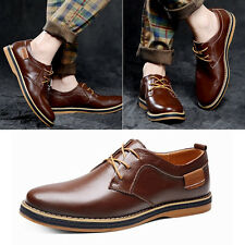 Mens European Style Casual Business Genuine Leather Oxfords Lace Up Dress Shoes