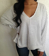 Urban Outfitters Truly Madly Deeply V Neck Stripe Top Ivory/Gray Size S,M NWT