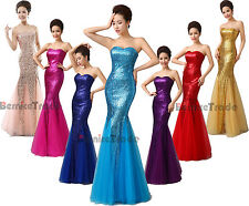 Stock Sequin Long Prom Party Gown Bridesmaid Evening Dress Size 6 8 10 12 14 16