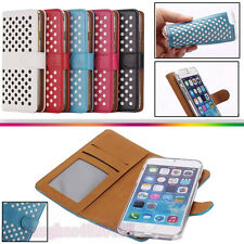 Luxury 2in1 Polka Dots Detachable Wallet Flip TPU Cover Case For Samsung/iPhone