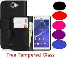 New Wallet Flip Leather Book Case Cover For Sony Xperia & Free HD Tempered Glass