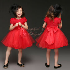 Girls Sequinned Party Dress Christmas Red Wedding Bridesmaid Princess Pageant
