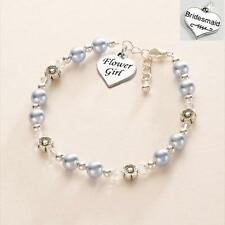 Bracelet with Flower Girl or Bridesmaid Charm. High Quality. Many Colours!