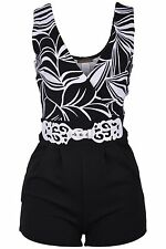 Women's V-Neck Floral Lace Print Sleeveless Short Pants Jumpsuit Romper
