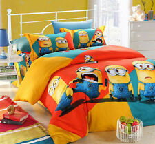 New 2015 Despicable Me Gru Minions Bedding Set 4pc Queen King Orange Size RARE