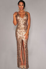 Gold Sequined Front Slit Padded Maxi Gown LC6907 women sexy long evening dress
