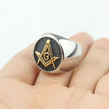 Mens Black Gold Embossed Stamped Freemason Masonic Stainless Steel Ring New