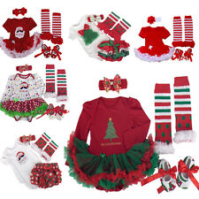 4PCS Infant Baby Newborn Girls Christmas Party Romper Dress Outfits Xmas 0-12M