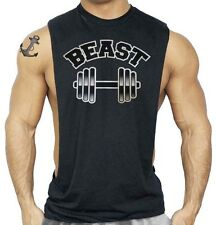 Men's Beast Black Workout Vest Tank Top Fitness Muscle Gym Tee