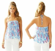New Lilly Pulitzer XS S L Lei Lei Silk Halter Top Red Right Return $118