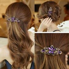 Elegant Woman Ladies Crystal Flower Rhinestone Hair Pins Clips Hairpin Barrette