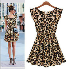 Women's Fashion Clothes Sexy Ladies Clothing Casual Leopard Summer Beach Dress