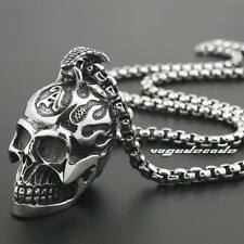 316L Stainless Steel Huge Heavy Fire Skull Mens Biker Punk Pendant 3H007D