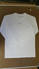 Nike Boy's White Long Sleeve Dri-Fit Training T-Shirt Nike Logo 453021 M L XL