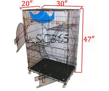 30″×20″×47″ Cat Dog Animal Pet Cage Foldable Wire Cat Cage 2 Perches