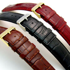 Luxurious Padded Croc Grain Leather Watch Band Square End 20mm