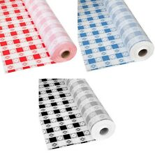 Gingham Patterns Plastic Banquet Table Cover Roll - 300 Feet Long Picnic Check