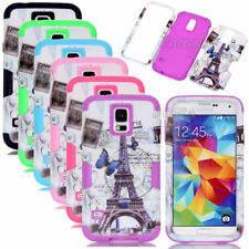 Eiffel Tower Pattern Printed Rugged Combo Hybrid Case For Samsung Galaxy S4 S5
