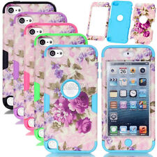 Rugged Purple Flower Pattern Matte Skin PC Silicone Combo Case For iPod Touch 5
