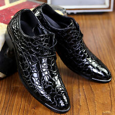 Korean mens vintage pointed toe lace up cuban shiny leather formal business shoe