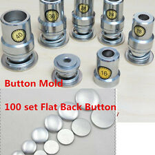 Fabric Covered Button Press Machine Mold Tools+100 set Flat Back Fabric Button