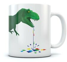 Drooling T-Rex Coffee Mug - Dripping Colorful Polygons Cool Tea Cup Ceramic Mug