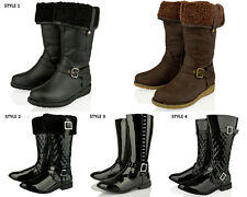 GIRLS KIDS FUR QUILTED DIAMANTE BUCKLE KNEE HIGH LOW HEEL WINTER BOOTS SIZE 10-4