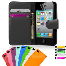 Wallet Flip Leather Pouch Card Case Cover For Apple iPhone 4 4S Free Stylus Pen