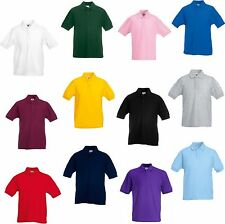 Childrens Kids Polo Shirt T-Shirt Top Boys Girls Childs Plain School Uniform NEW