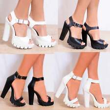 BARELY THERE CLEATED PLATFORMS CHUNKY WEDGED HIGH HEELS ANKLE STRAP SUMMER SHOES