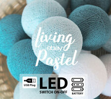 20 WARM COLOR TONE COTTON BALL WITH LED BATTERY OPERATED PARTY STRING LIGHTS