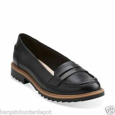 New Clarks Women's Griffin Milly Black Leather Loafers Shoes 26101101