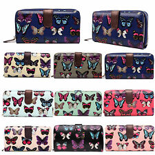 LADIES BUTTERFLY OILCLOTH COIN WALLET PURSE CLUTCH HAND BAG