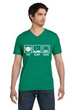 Eat Sleep Code - Funny Programmer Coder V-Neck T-Shirt Coding Geek Gift Idea