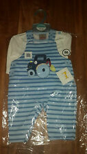 NURSERY COLLECTION BABY BOY STRIPED DUNGAREES OUTFIT WITH TOP CLOTHES