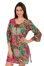 "Cotton Kaftan Dress or beach cover up from Spirituelle - ""Floral Mocha"" S-3XL"