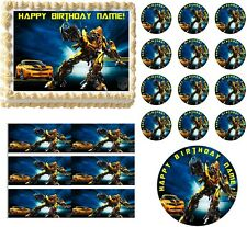 TRANSFORMERS BUMBLEBEE Edible Cake Topper Image-All Sizes-Transformers Font! NEW