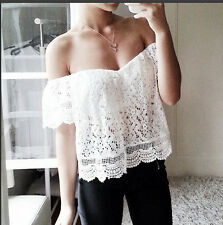 Sexy Women's Summer Casual Sleeveless Shirt Lace Loose Vest Tank Tops Blouse