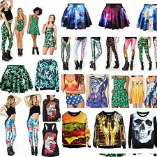Womens 3D Graphic Print Punk Costume Bikini Tank Top Mini Skirt Dress Leggings