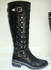 LADIES WOMENS BLACK KNEE HIGH LEATHER STYLE LOW HEEL RIDING BIKER BOOTS SIZE 8