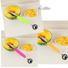2 in 1 Dual Head Fruit Melon Ice Cream Scoop Spoon Ball Baller Carving Knife BU