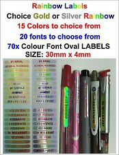 70x or 140x Gold or Silver Rainbow Vinyl Stickers, Your Own Name For Pencil,Pen