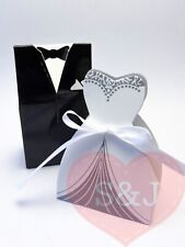 20 Bride & Groom wedding party bomboniere/favour boxes with ribbon tuxedo dress