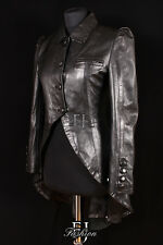POISON BLACK (5003) Ladies Military Long Lambskin Leather Trench Coat Jacket