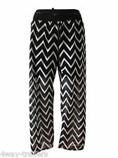 Ladies Wide Leg Palazzo Trousers Womens chiffon Baggy Belted Flared Pants