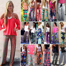 Women Sexy Fashion Loose Stretch High Waist Wide Leg Long Pants Palazzo Trousers