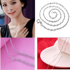 Silver Plated Delicate Water Wave Link Chain Necklaces With Lobster Clasp