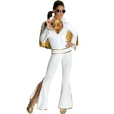 Womens White Elvis Jumpsuit Costume Famous Celebrity 50s Rock Star Party Outfit