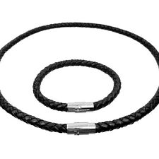 Necklace Bracelet Leather Braided Stainless Steel Clasp
