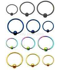 "2pcs 20G~1/4"", 5/16"", 3/8"" Titanium Anodized Captive Bead Rings Nose Hoop Tragus"